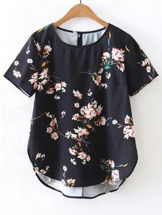 Short Sleeve Floral High Low Blouse -SheIn(abaday)