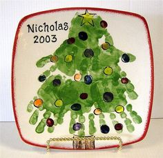 handprint tree plate (gotta do this with the kids. Smallest hand at the top (Kasondras) then bigger, bigger & biggest.
