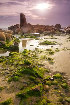 Sunrise at Co Thach beach, Vietnam. Co Thach Beach is located in a quiet place in  Binh Thuan Province, about 90km from Phan Thiet.