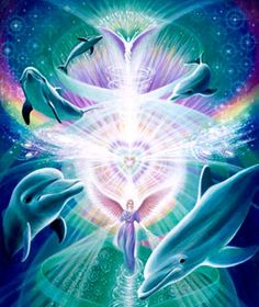 Eva Sullivan is a Visionary Painter and Environmentalist. Her paintings enter the realms of angels, dolphins, mystic creatures and fairies, lightworkers and goddesses. Dolphin Photos, Dolphin Art, Dolphin Images, Angel Gif, Sirian Starseed, Dolphins Tattoo, Ocean Wallpaper, Spirited Art, Delphine