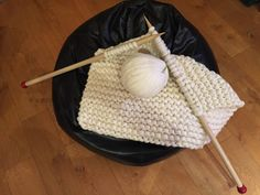Plaid tricoté laine 100 % mérinos grosse maille par AlzinaDouceur