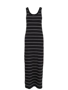 STRIPED MAXI DRESS, Black