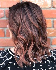Rose brown highlights on dark brown hair