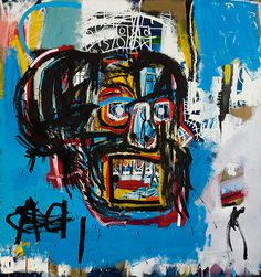 """Historic. This untitled, face-forward-and profile Basquiat painting that I nicknamed """"Black Man's Primal Scream"""", is now the most expensive work, by an American artist. It was bought at auction, by Japanese billionaire, for $110.5 million dollars. May 2017"""