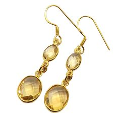 Sitara Collections Handcrafted Goldplated Sterling Silver Citrine Drop Earrings