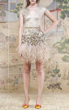Matthew Williamson feathered dress in gold $6525