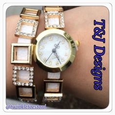 50% OFF 2-DAY SALE!T&J DESIGNS LAYERED WATCH! ARRIVED 1/26/16! Gold and white pave layered chain watch by T&J Designs! FOUR Available (I had to Keep one ). ⭐These have a vegan leather double white band, gold plated watch with a white face, and bands are bedazzled with crystal and gold squares; so on trend! Really sparkles, and IS adjustable; 2 snap closures. Layer it with my other T&J bracelets!PRICE FIRM UNLESS BUNDLEDPhoto credits: T&J Designs and Mine. See their entire adorable collection…