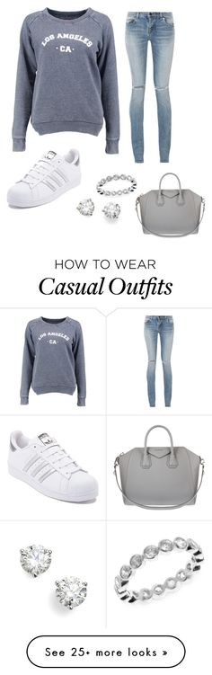 """""""Blue sweatshirt - Casual"""" by brittjade on Polyvore featuring Yves Saint Laurent, Boohoo, adidas, Bony Levy, Givenchy and Judith Jack"""