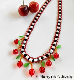 Cherry Necklace with Checks by CherryChick on Etsy