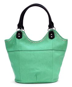 Loving this Mint Beckie Bucket Bag on #zulily! #zulilyfinds ... kinda looks like a frog's face to me!