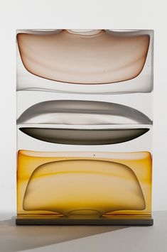 Jamie Harris - Infusion Block in Opaline, Amber and brown, 2011 blown solid, kiln cast & carved glass