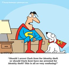 Superhero Cartoon, Identity Thief, Smart Key, Security Tips, Clark Kent, Superman, Family Guy, Comics, Reading