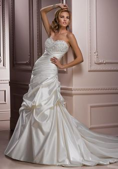 Maggie Sottero Parisianna Ivory Satin A-line Swarovski crystal Sweetheart Wedding Dress Side wide