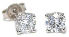 Diamond Solitaire Earrings // 2.00cts tdw in 14k white gold // Hannoush Jewelers (www.Hannoush.com)