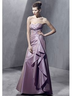 Attractive Pleated Sweetheart Floor Length A-line Evening Dress