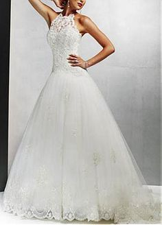 #Dressilyme Elegant Beautiful A-line High-collarWedding Dress With First-class Fabric And Exquisite Handwork
