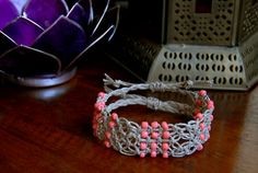 Square Knot Macramé & Coral Beaded Hemp by TravelingSeven on Etsy