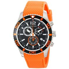 Nautica Men's N15101G NST 09 Chronograph Watch Black Dial Orange Rubber Band
