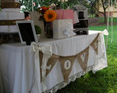 Burlap banner burlap wedding banner country by RedHeartCreations, $39.00. No white bows tho- maybe purple with a few flowers...