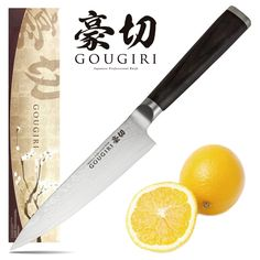 """Petti knife also joined this """"GOUGIRI"""" series. It is a very convenient one when cutting fruits! Damascus Blade, Chef Knife, Knife Making, Kitchen Tools, Fruit, Recipes, Cooking Ware, Kitchen Gadgets, Cookware"""