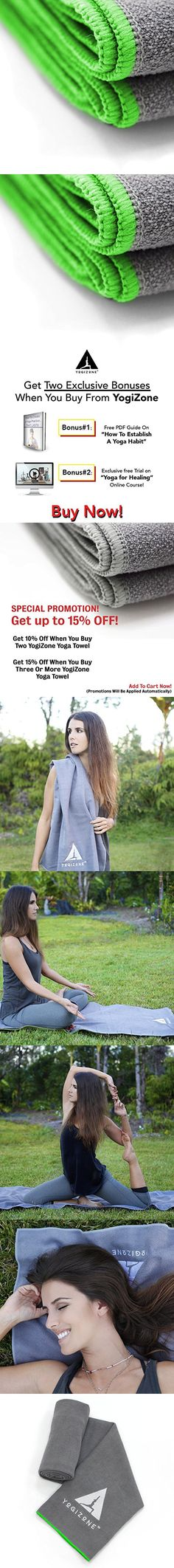 "Super-Absorbent Non-Skid Microfiber Yoga Towel / Mat Cover for Hot Yoga, Bikram Yoga & Pilates | Bonus eBook & Course Free Trial | 24"" x 72"" by YogiZone"