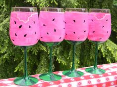 Watermelon Hand Painted Wine Glasses Set (Flip and add vines and votive candles like the pumpkin ones)