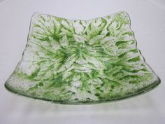 Handmade fused glass candy bowl - green man 2 £20.00