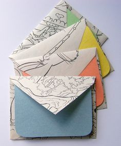 Coloring Pages Stationery Set of 4 by MiniHaus, Cute envelopes made from colouring-in pages with construction paper notecards. Diy Paper, Paper Art, Paper Crafts, Coloring Books, Coloring Pages, Crafts For Kids, Arts And Crafts, Envelope Art, Stationery Set