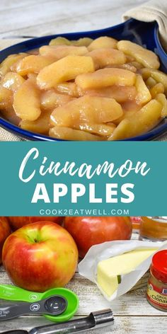 These cinnamon apples make a delicious side dish or dessert. They're super easy to make and don't take very long at all. In this recipe, apples, brown sugar and cinnamon are cooked in butter until they're tender and golden. Fried Apples Recipe Easy, Stewed Apples Recipe, Baked Cinnamon Apples, Apple Recipes Easy, Cinnamon Recipes, Cooked Apples, Spiced Apples, Fruit Recipes, Desert Recipes