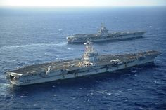 USS Enterprise CVN-65 and USS Dwight D. Eisenhower CVN-69. Patrick's 1st ship & his current ship
