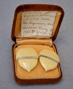 Celluloid Acorn Buckle with Provenance Art Deco Vintage #Vintage #Jewelry #Fashion #GiftForHer #CostumeJewelry #1930sCelluloidBuckle #ArtDecoBuckle #1930sBuckleWithProvenance #PEOOfficersDressBuckle