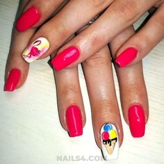 Easy And Beautiful Vacation Nail Designs / Easy And Beautiful Vacation Nail Designs / Ice Cream Design, Vacation Nails, Happy Nails, Get Nails, Birthday Design, Perfect Nails, Nail Art Designs, Nailart, Manicure
