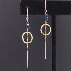Amazon.com: Genuine Sapphire Earrings - September Birthstone - Threader Earrings - Available Gold and Silver: Handmade