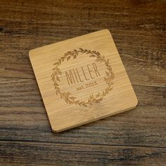 Custom Coasters, Engraved Coaster Set Personalized with Family Name, Wedding Date, Laurel Wreath, Wedding Gift, Square Coasters, Bamboo by EventCityDesign on Etsy https://www.etsy.com/listing/230305877/custom-coasters-engraved-coaster-set
