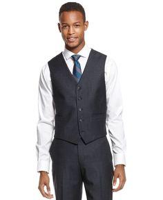 Ryan Seacrest Distinction Blue Flannel Slim-Fit Vest