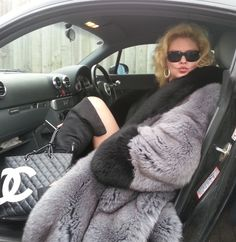 Huge Blue Grey 3/4 Fox Fur Stroller with Huge Black Fox Fur Collar and Cuffs. On SALE at http://luxuryfurs4less.com