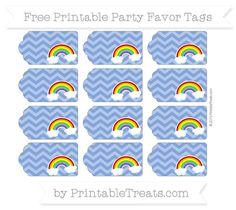 Sapphire Blue Chevron Rainbow Party Favor Tags