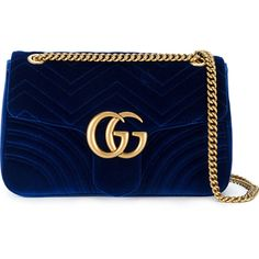 Gucci GG Marmont shoulder bag (44 940 UAH) ❤ liked on Polyvore featuring bags, handbags, shoulder bags, blue, velvet purse, velvet handbags, gucci purse, quilted chain strap shoulder bag and shoulder handbags