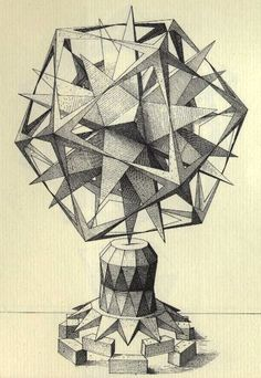 A drawing of an imaginary sculpture by Renaissance artist Wenzel Jamnitzer. The shape in the center is a stellated great dodecahedron.