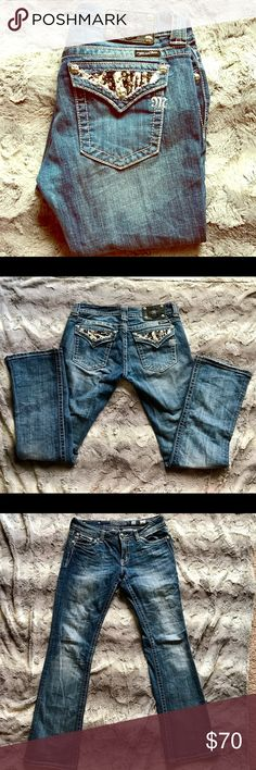 Miss Me Jeans Zebra Embellished Pockets, boot cut, size 30/33 Length Miss Me Pants Boot Cut & Flare