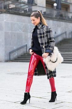 Fall 2017 trends outfit glencheck coat, red vinyl pants & cozy fur bag