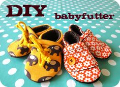 Make your own baby-slippers. Page in danish, but the pictures says it all.. (Or maybe you can have your browser translate the paige.)