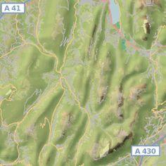 Cartes des refuges, sommets et sources/point d'eau dans massif des Bauges