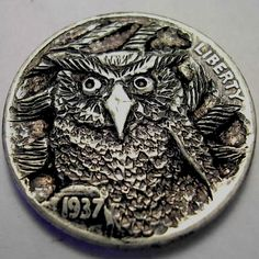 Eric Truitt Hobo Nickel, Coin Art, Coin Collecting, Coins, Scrapbook, Buffalo, Cactus, Stamps, Owl