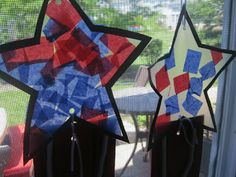 Preschool Crafts for Kids*: 4th of July Tissue Paper Stars Craft - add sequins?