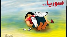 """Illustration by <a href=""""https://twitter.com/islamgawish/status/639107715063775233/photo/1"""" target=""""_blank"""">Islam Gawish</a>, an Egyptian cartoonist: """"This child who wanted freedom, has been killed by the fear of war, the war that he was not a part of."""""""