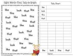 FREEBIE - Sight Words: Find, Tally & Graph (3 pages that include: how, now, not, no, this, that, like, look, saw, was, his, has)
