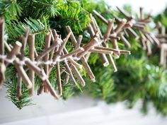 Twig Garland An excellent way to add rustic flair to a Christmas tree, banister or mantel is with a handmade twig garland. Thin twigs and br...