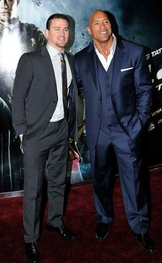 Channing Tatum and Dwayne Johnson attend the UK premiere of G. Joe: Retaliation at The Empire Leicester Square on March 2013 in London, England. (Photo by Gareth Cattermole/Getty Images) The Rock Dwayne Johnson, Rock Johnson, Dwayne The Rock, Imagine John Lennon, Evolution Of Fashion, Raining Men, Sharp Dressed Man, Channing Tatum, American Actors