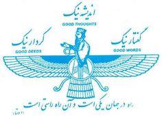 "Faravahar, with the 3 tenets of Zoroastrianism: ""Good thoughts, good words, good deeds"""